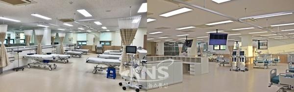 응급실 내부(왼쪽)와 중환자실 내부 [사진=청주의료원]